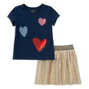 KATE SPADE Glitter Foil Heart Tee & Metallic Skirt